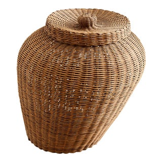 Monumental French Woven Willow Lidded Basket For Sale