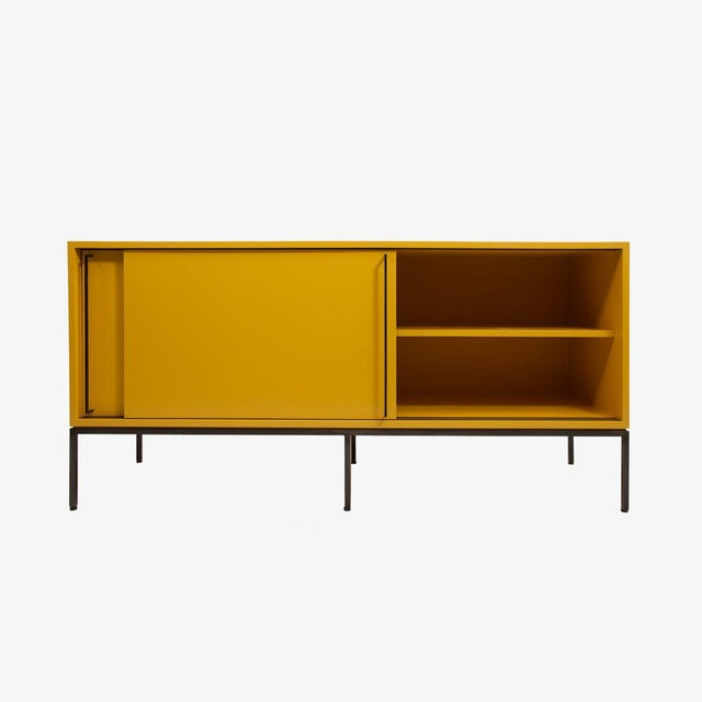 Customizable Re: 379 Grass Green Lacquered Credenza on Brass base For Sale In New York - Image 6 of 12