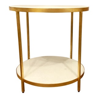 Arteriors Contemporary Gold Metal and White Marble Two Tier Side Table For Sale