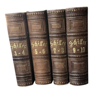 1847 Vintage Leather Bond German Language Books - Set of 5 For Sale