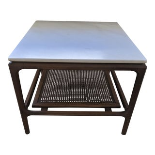 Vintage Mid Century Danish Modern Wood Caned Marble Top Table For Sale