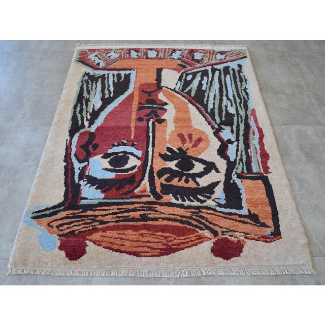 Pablo Picasso Pablo Picasso - Bust of a Woman - Inspired Hand Knotted Area Rug - Wall Rug 4′ × 5′5″ For Sale - Image 4 of 10