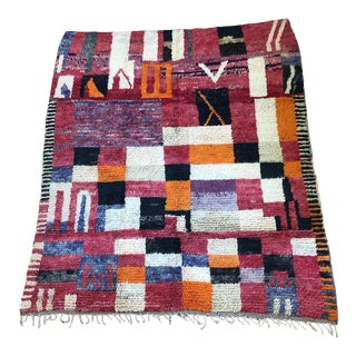 """Colorful Medium Moroccan Rug - 5' X 6' 1"""" For Sale"""