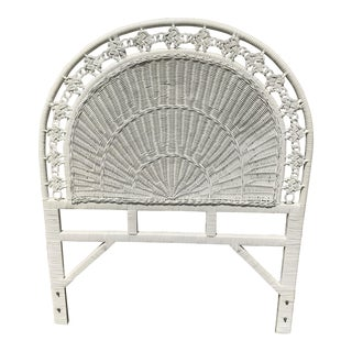 Late 20th Century Americana White Wicker Twin Headboard