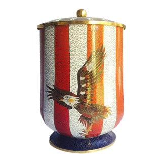 Mid Century Modern Cloisonné Jar Americana Enameled Brass Canister