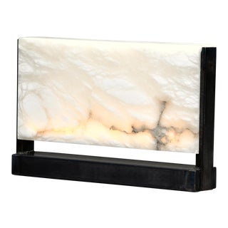 New Hand Carved Italian Alabaster Rectangular Led Table Lamp For Sale