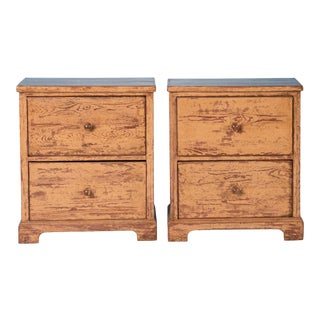 19th Century Antique Swedish Two Drawer Nightstands-a Pair For Sale