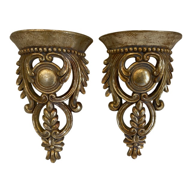 Carved Ornate Gilt Wood Wall Brackets -A Pair For Sale