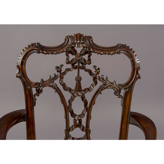 Set 8 19th C Hand Carved Chippendale Tassel Back Dining Chairs For Sale - Image 11 of 13