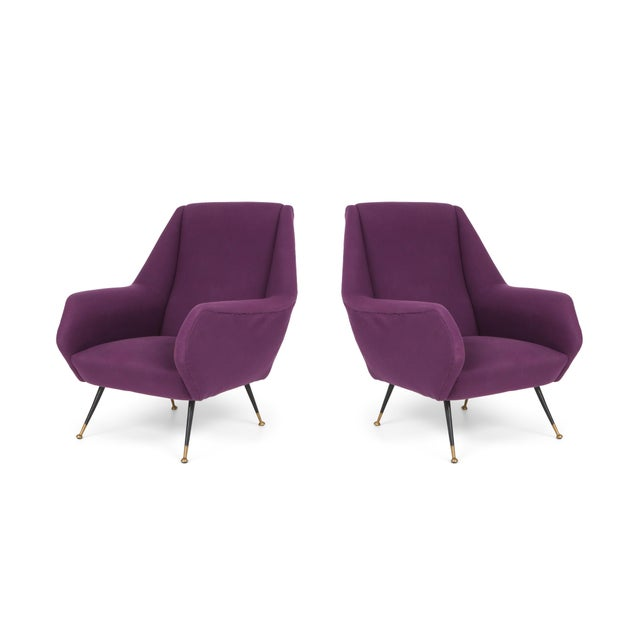 1950s Ico Parisi Easy Chairs With Purple Upholstery - a Pair For Sale - Image 12 of 12