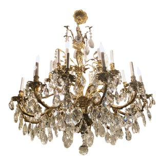 Vintage Twenty Four Light Massive Bronze And Crystal Chandelier
