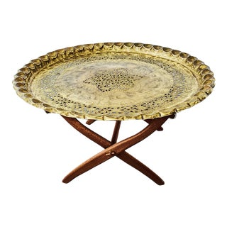 1960s Moroccan Brass Tray Table on Folding Teak Stand For Sale