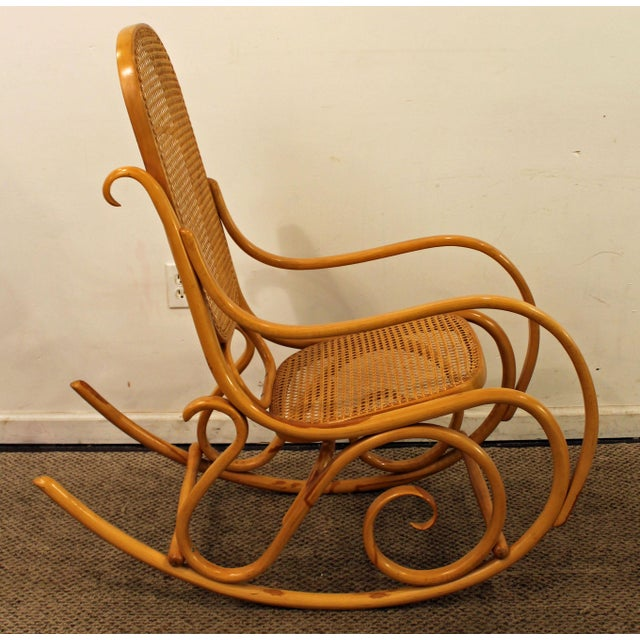 Thonet Thonet Salvatore Leone Bentwood Caned-Seat Rocking Chair #10 For Sale - Image 4 of 11