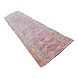 Faded Long Distressed Vintage Turkish Oushak 14 Foot Runner With Traditional Modern Style, Country Style Hallway Carpet, Warm Soft Colors For Sale