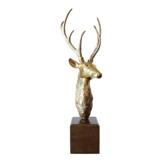 1980s Hollywood Regency Large Brass Deer Stag Head Statue For Sale