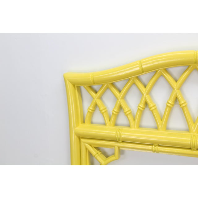 Lovely Bright Sunny Yellow Faux Bamboo Mirror For Sale - Image 4 of 5