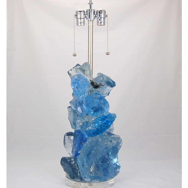 Swank Lighting Glass Rock Table Lamps by Swank Lighting Blue Crystal - a Pair For Sale - Image 4 of 10