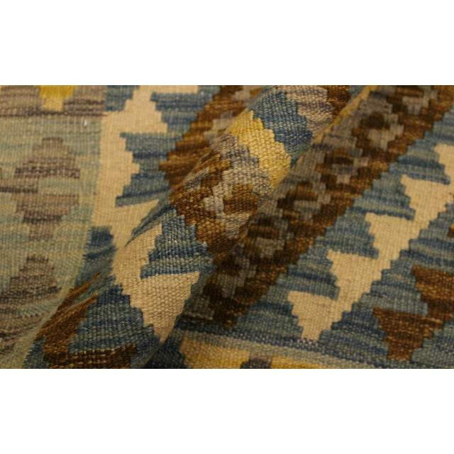 Contemporary Tribal Roseann Blue/Gray Hand-Woven Kilim Wool Rug -2'8 X 4'1 For Sale - Image 4 of 8