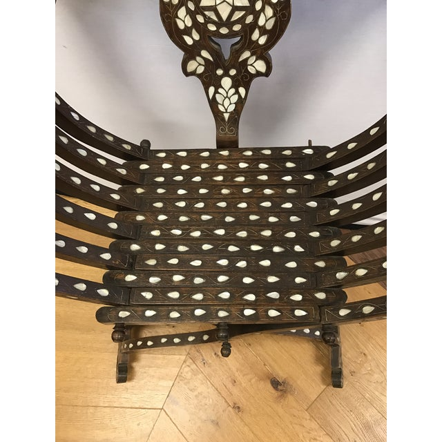 Late 19th Century Antique Mother-Of-Pearl Inlay Savonarola Chair For Sale - Image 10 of 13