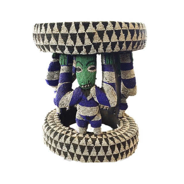 "African Beaded wood Bamileke Stool /Table Cameroon 19'""H For Sale In New York - Image 6 of 12"