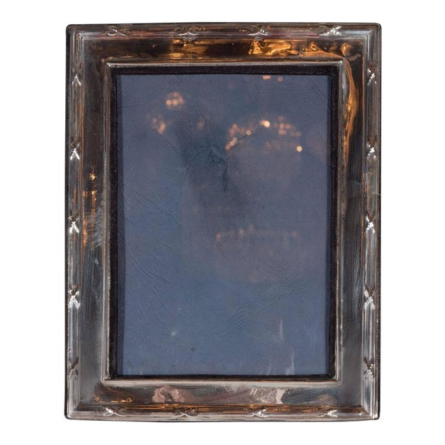 Elegant Sterling Silver Ribbon and Reed Picture Frame For Sale