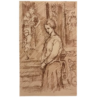 Drawing of a Lady in a Streetscape 1960s For Sale