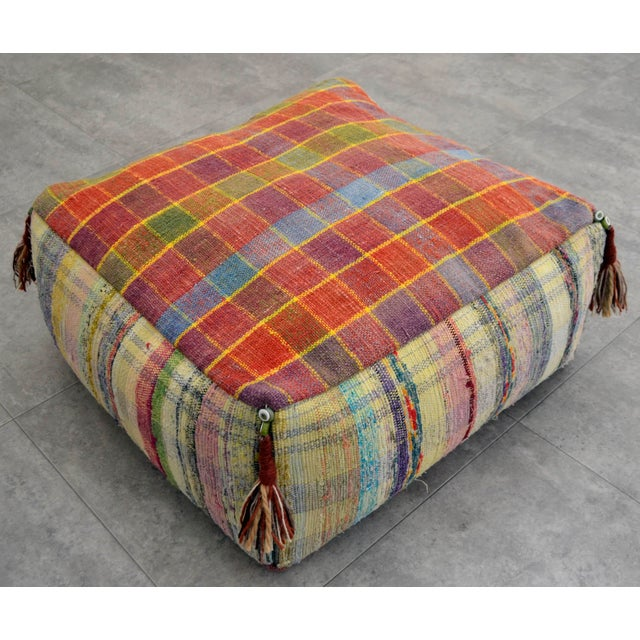 Hand Woven Kilim Floor Cushion Turkish Sitting Pillow- 22″ X 22″ - Image 2 of 8