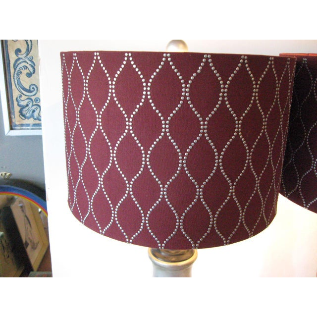 Contemporary Faux Bamboo Silver Ceramic Lamps - A Pair For Sale - Image 3 of 7