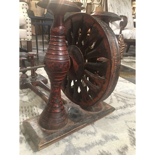 Metal Antique Distressed Red Spinning Wheel For Sale - Image 7 of 11