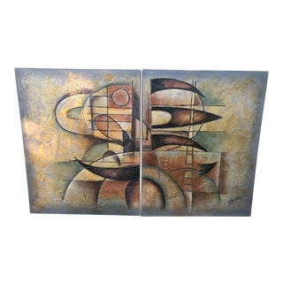 Lee Reynolds Mid Century Modern Abstract Canvas Painting - a Pair For Sale