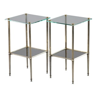 Brass Side Tables With Glass Top and Lower Shelf of Black Glass