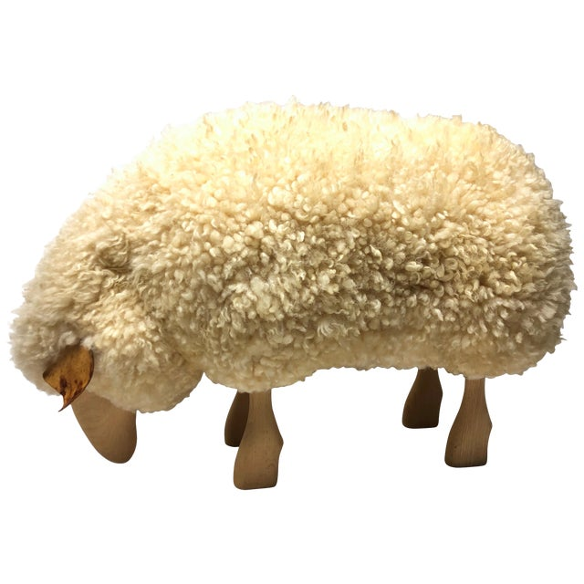 Vintage Lalanne Style Carved Wood Sheep For Sale