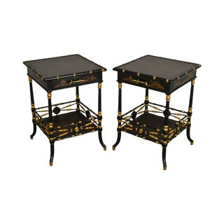1990s Chinoiserie Painted Black & Gold Faux Bamboo Side Tables - a Pair For Sale