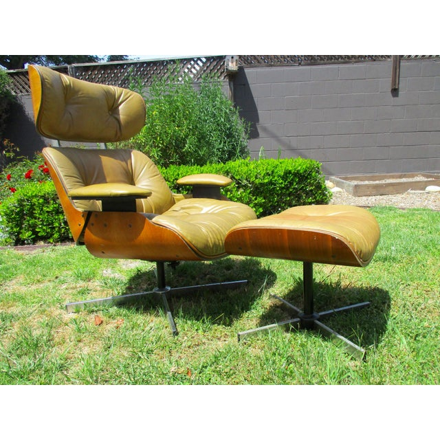 Frank Doerner Mid-Century Modern Chair & Ottoman Set Selig Plycraft Style - Image 6 of 11
