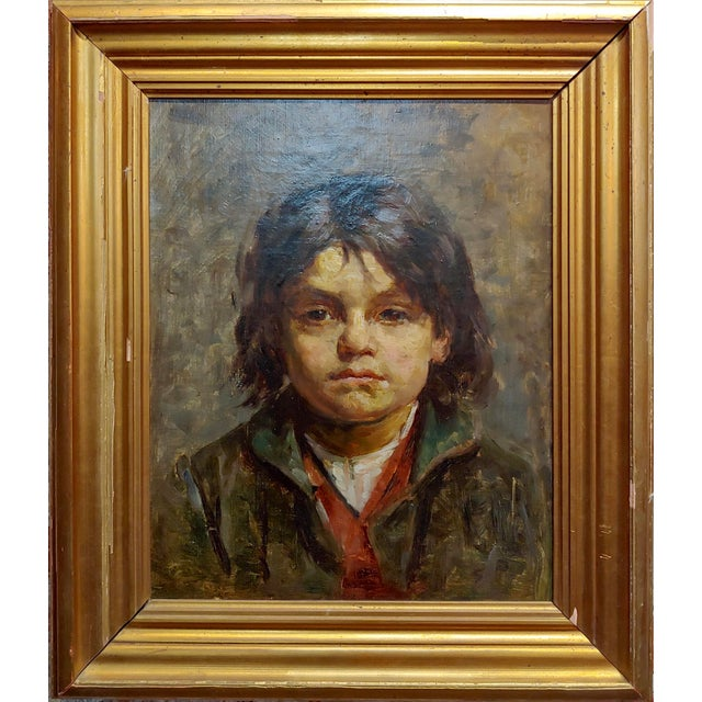 "Portrait of a Brat - 19th century German Oil painting oil painting on canvas circa 1880/90s frame size 18 x 22"" canvas..."