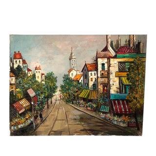 "Vintage European Street Scene, Oil on Canvas 30"" X 40"" For Sale"