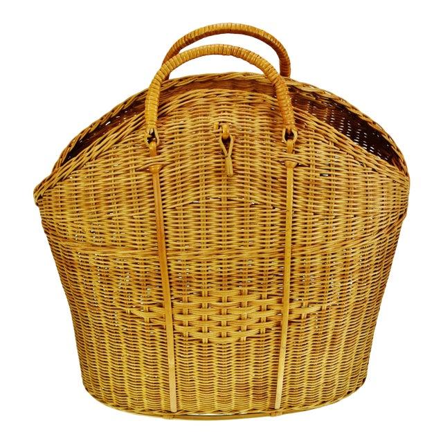 Vintage Wicker Tote Basket For Sale