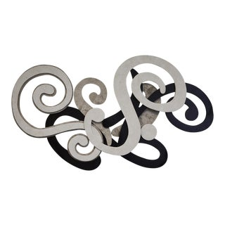 Black and White Swirl Tessellated Stone Wall Sculpture For Sale