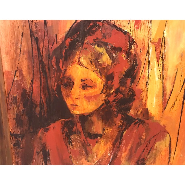 Gold Mid-Century Original Portrait of a Woman Painting For Sale - Image 8 of 13