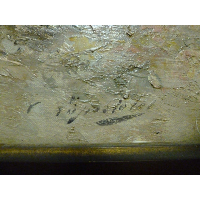 Canvas 19th C French Impressionist Coastal Scene W Hot Air Balloon Painting For Sale - Image 7 of 10