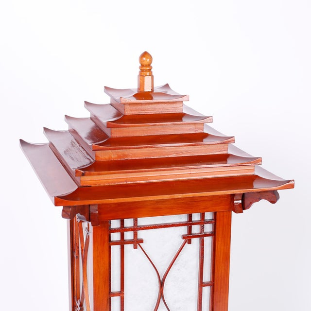 Mid 20th Century Large Pagoda Table Lamps - A Pair For Sale - Image 5 of 9