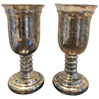 Large Pair of Antique Mercury Glass Hurricanes For Sale