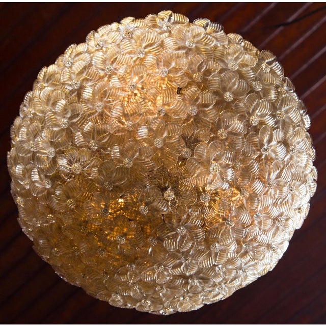 Delicate little individual Murano glass - flower like pieces form this stunning ceiling mount light fixture by Barovier &...