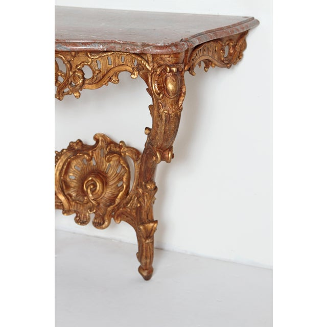 Louis XV Louis XV French Console Table With Marble Top For Sale - Image 3 of 13