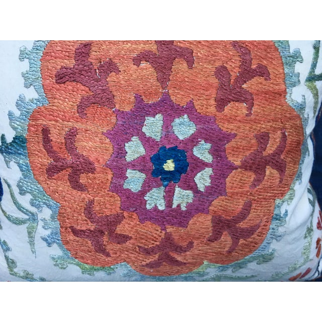 Embroidered Suzani Pillow Cover For Sale - Image 5 of 6