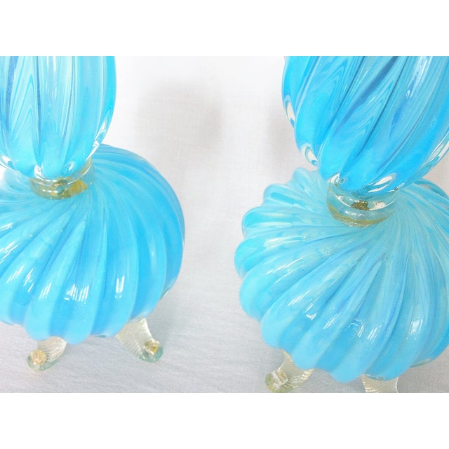 Art Glass Barovier & Toso Blue and Gold Italian Murano Glass Mid-Century Modern Table Lamps Venetian Italy- a Pair Millennial For Sale - Image 7 of 11
