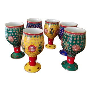 Chinese Hand Painted Porcelain Goblets - Set of 6 For Sale