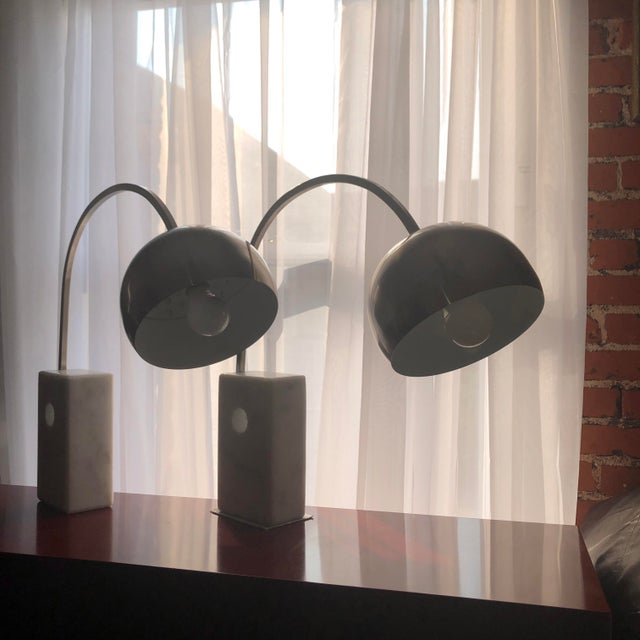 White Italian Mid Century Modern Arco Desk Lamps - a Pair For Sale - Image 8 of 12