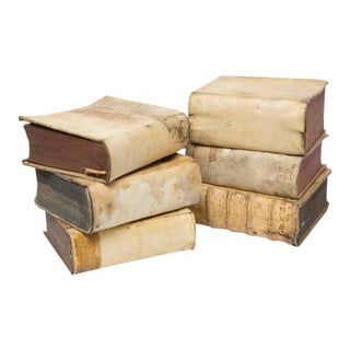 Italian 17th-18th Century Vellum Books Collection - Set of 6