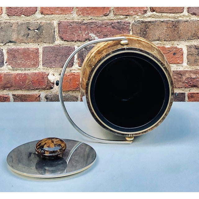C.1950 Italian Aldo Tura Brown Goatskin and Brass Plate Ice Bucket For Sale - Image 11 of 12